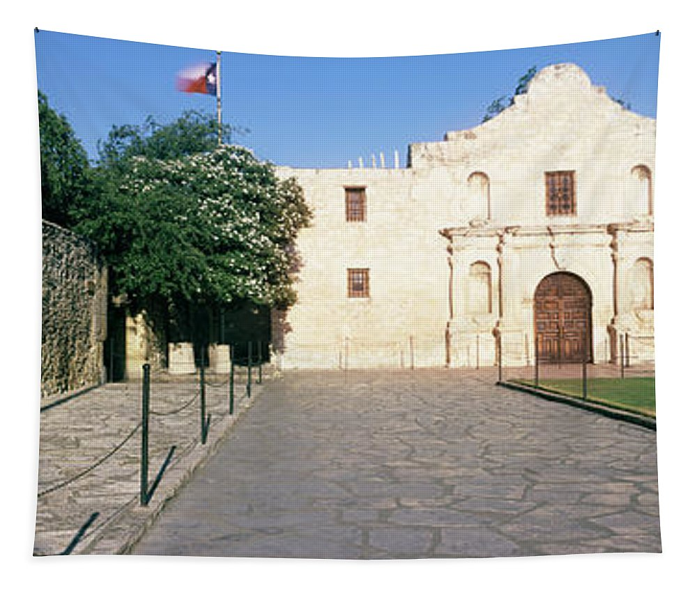 Photography Tapestry featuring the photograph Facade Of A Building, The Alamo, San by Panoramic Images