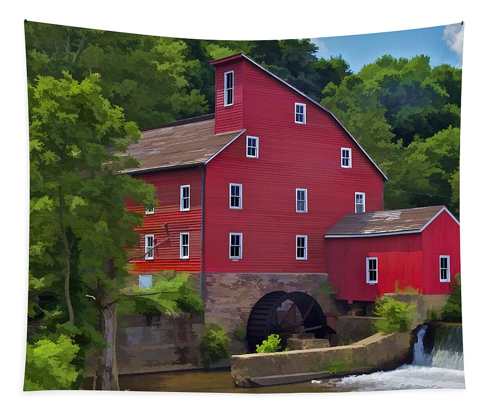 American Tapestry featuring the photograph Faded Red Water Mill On The Dam Of The Raritan River by David Letts
