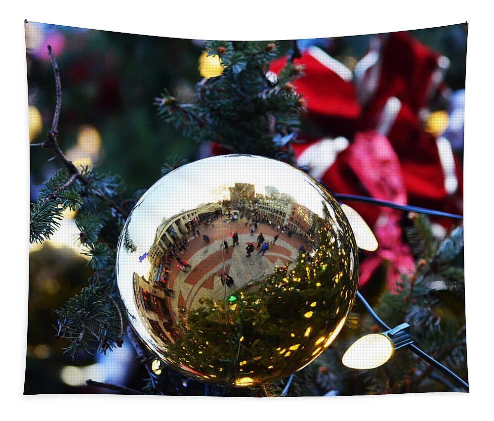 Faneuil Hall Tapestry featuring the photograph Faneuil Hall Christmas Tree Ornament by Toby McGuire