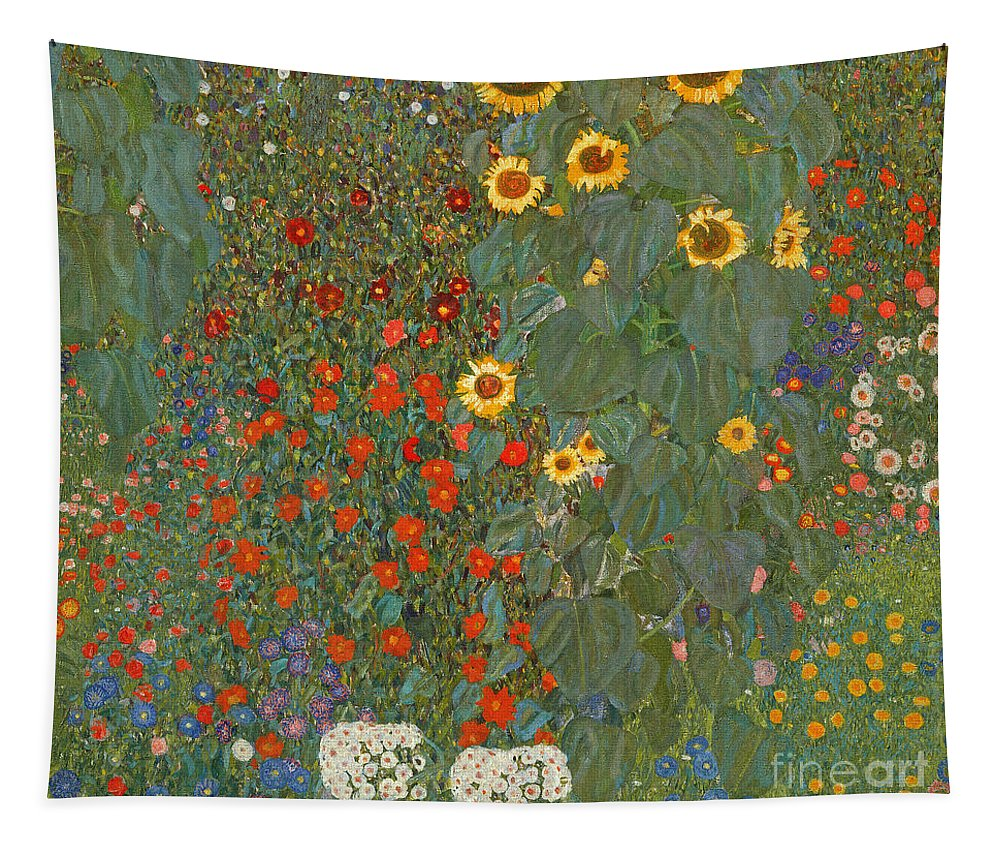 Klimt Tapestry featuring the painting Farm Garden With Sunflowers by Gustav Klimt