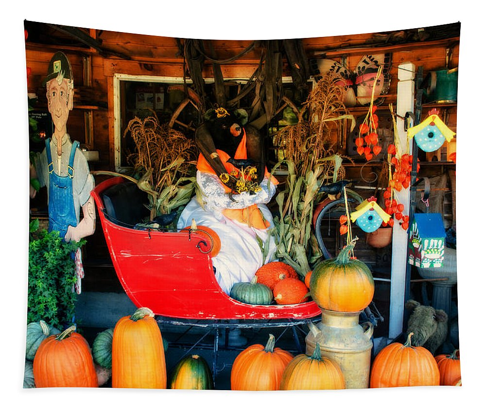 Pumpkins Tapestry featuring the photograph Farm Stand by Sherman Perry