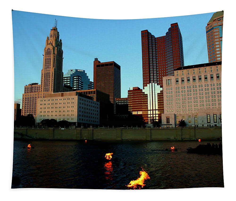 Fire Tapestry featuring the photograph Fire On The River by Laurel Talabere