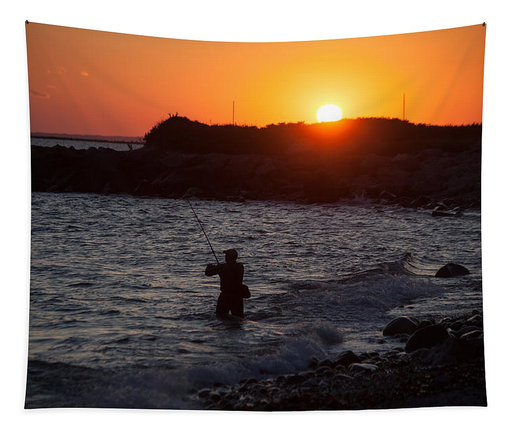 Fishing At Sunset Tapestry featuring the photograph Fishing At Sunset by Karol Livote