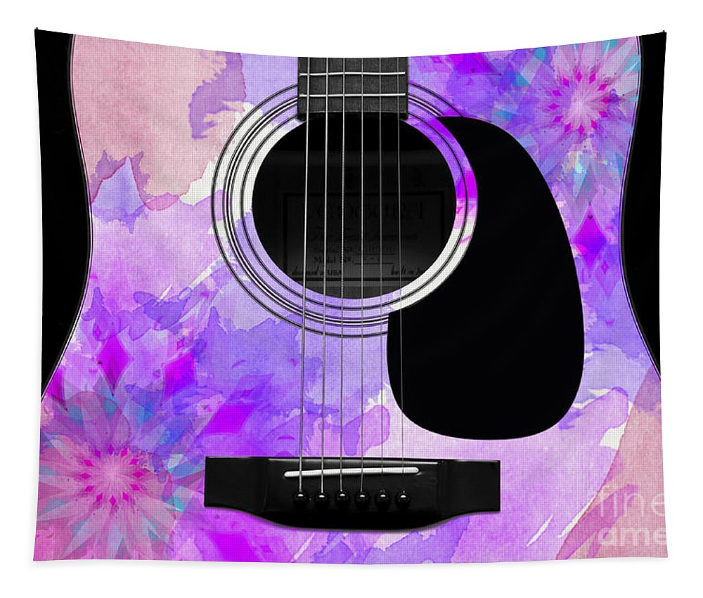 Abstract Tapestry featuring the digital art Floral Abstract Guitar 17 by Andee Design