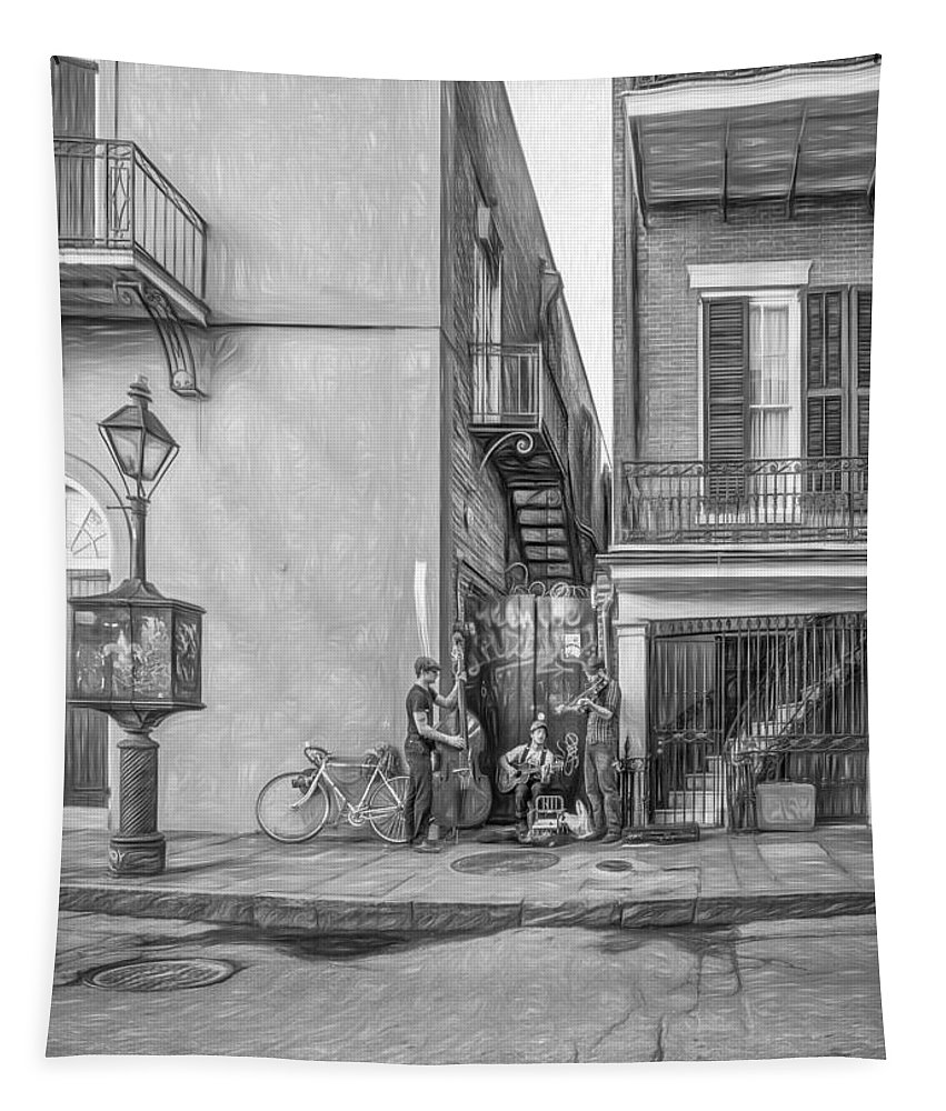 French Quarter Tapestry featuring the photograph French Quarter Trio - Paint Bw by Steve Harrington