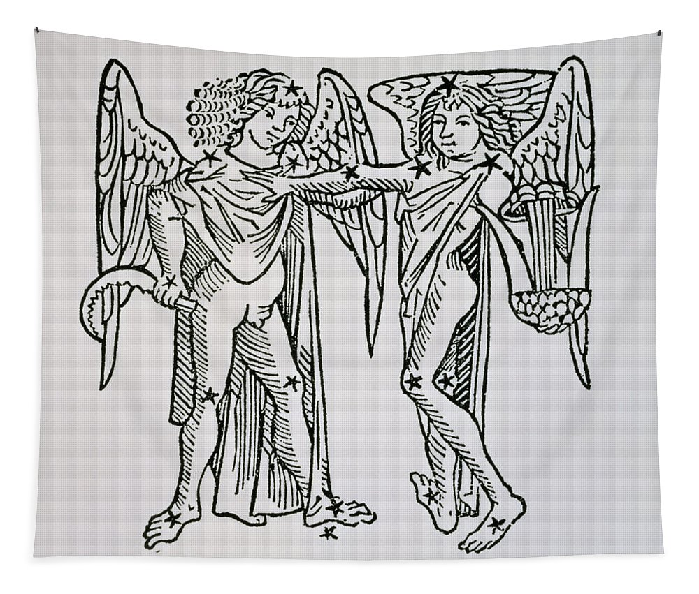Gemini Tapestry featuring the drawing Gemini An Illustration by Italian School