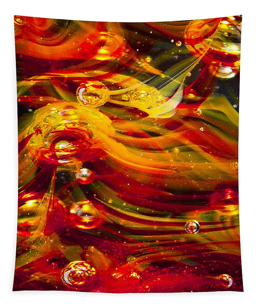 Glass Tapestry featuring the photograph Glass Macro Abstract - Molten Fire by David Patterson