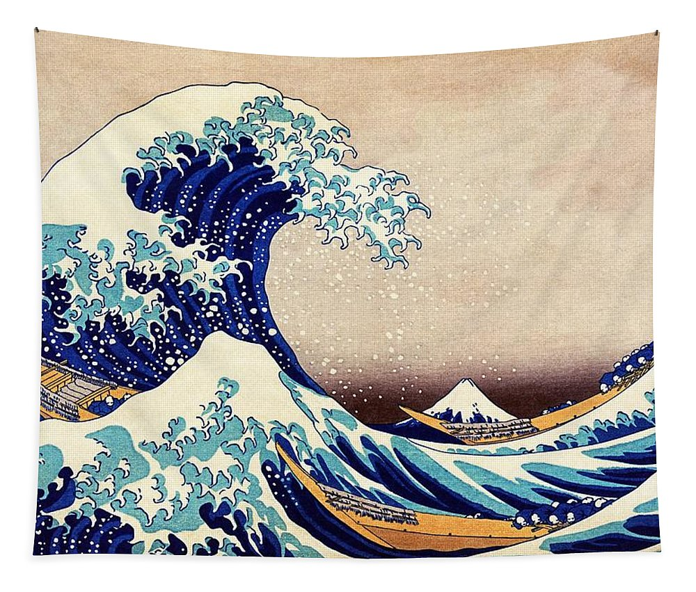 Great Wave Tapestry featuring the painting Great Wave Off Kanagawa by Katsushika Hokusai
