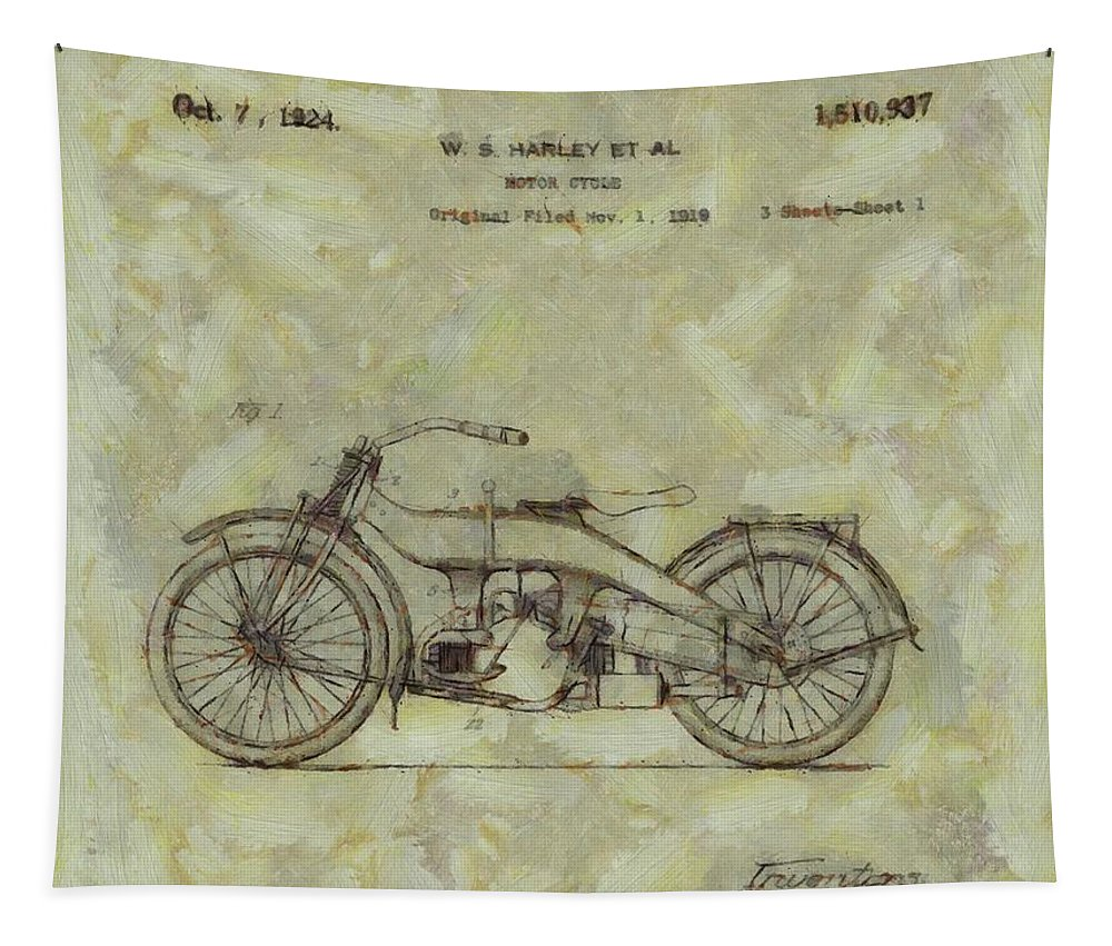 Harley Davidson Motorcycle Patent Tapestry featuring the painting Harley Davidson Patent by Dan Sproul