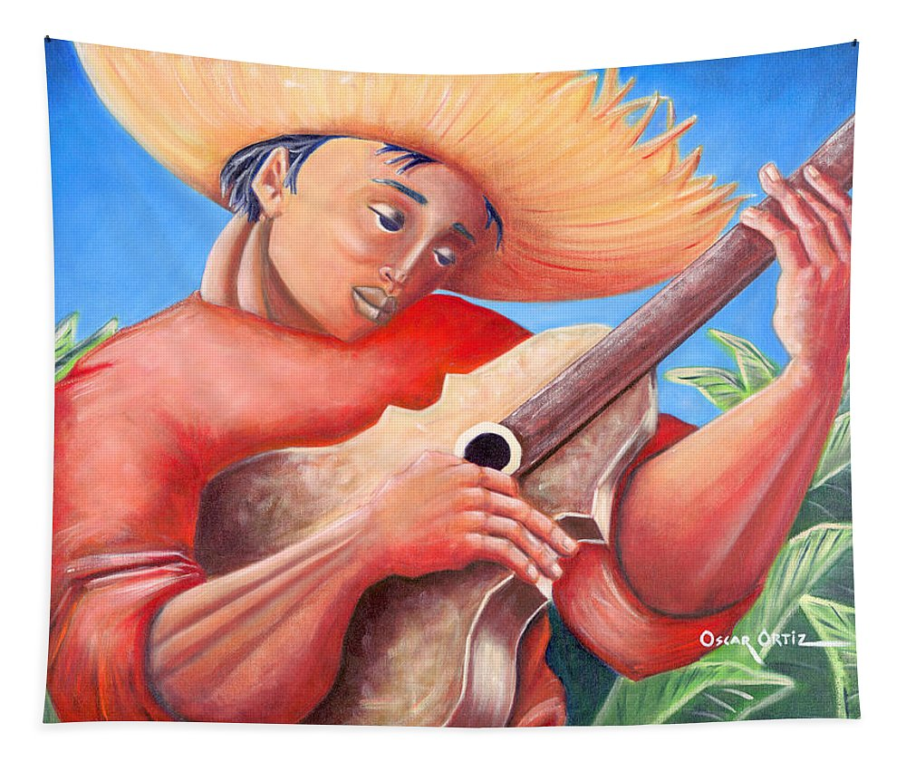 Puerto Rico Tapestry featuring the painting Hidalgo Campesino by Oscar Ortiz