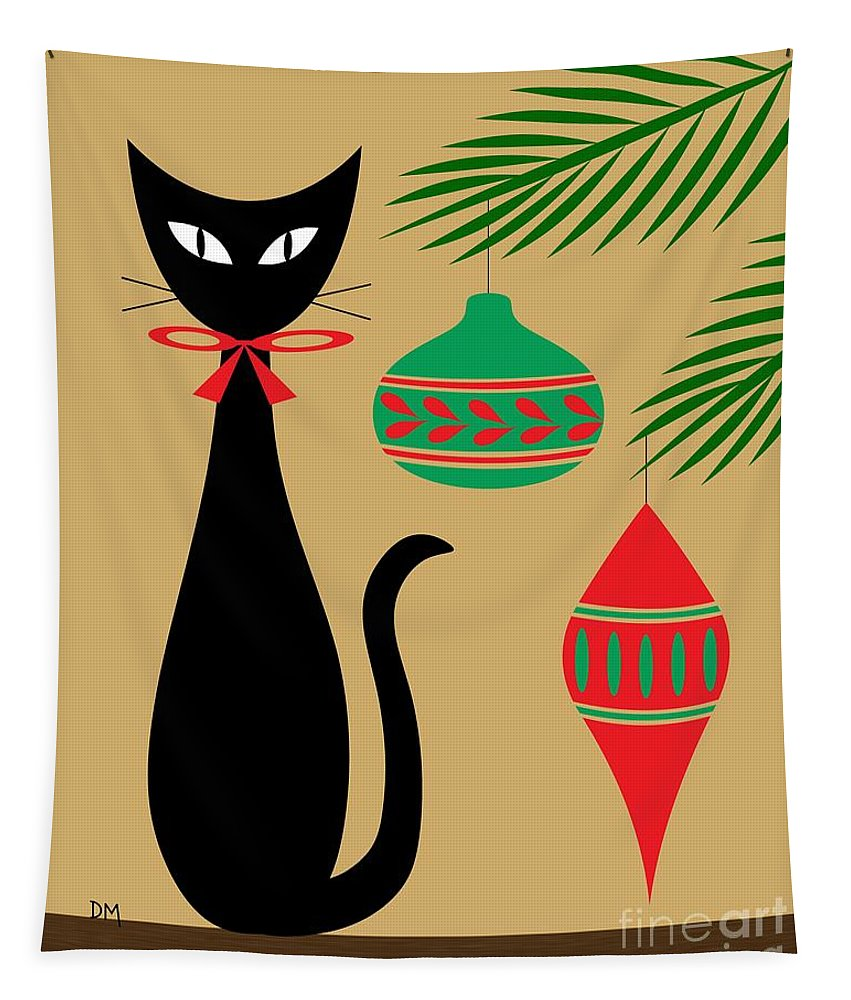 Holiday Tapestry featuring the digital art Holiday Cat by Donna Mibus