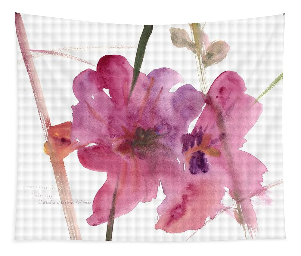 Hollyhocks Tapestry featuring the painting Hollyhocks by Claudia Hutchins-Puechavy