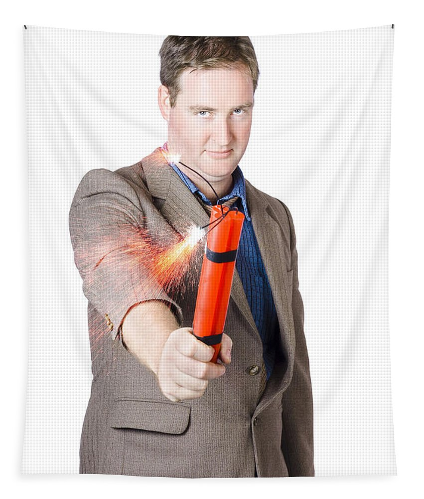 Crisis Tapestry featuring the photograph Hostile Male Office Worker Holding Flaming Bomb by Jorgo Photography - Wall Art Gallery
