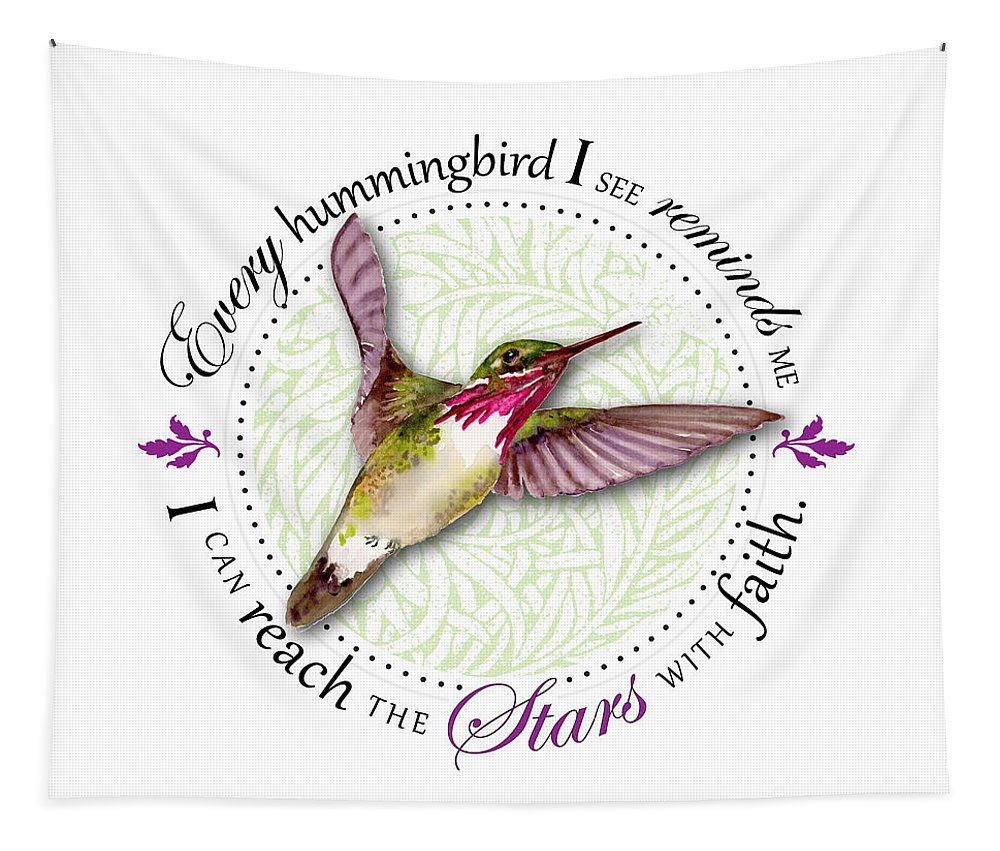 Bird Tapestry featuring the painting I Can Reach The Stars With Faith by Amy Kirkpatrick