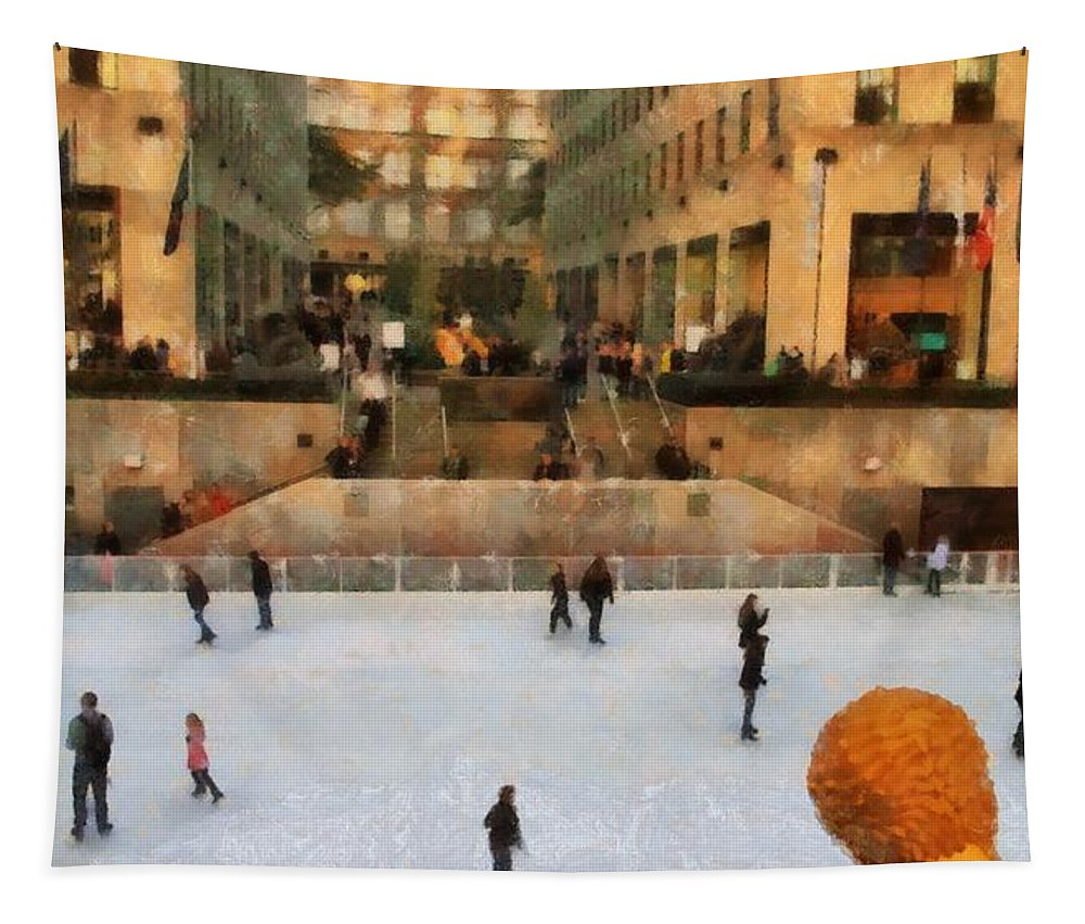 Ice Skating In New York City Tapestry featuring the painting Ice Skating In New York City by Dan Sproul