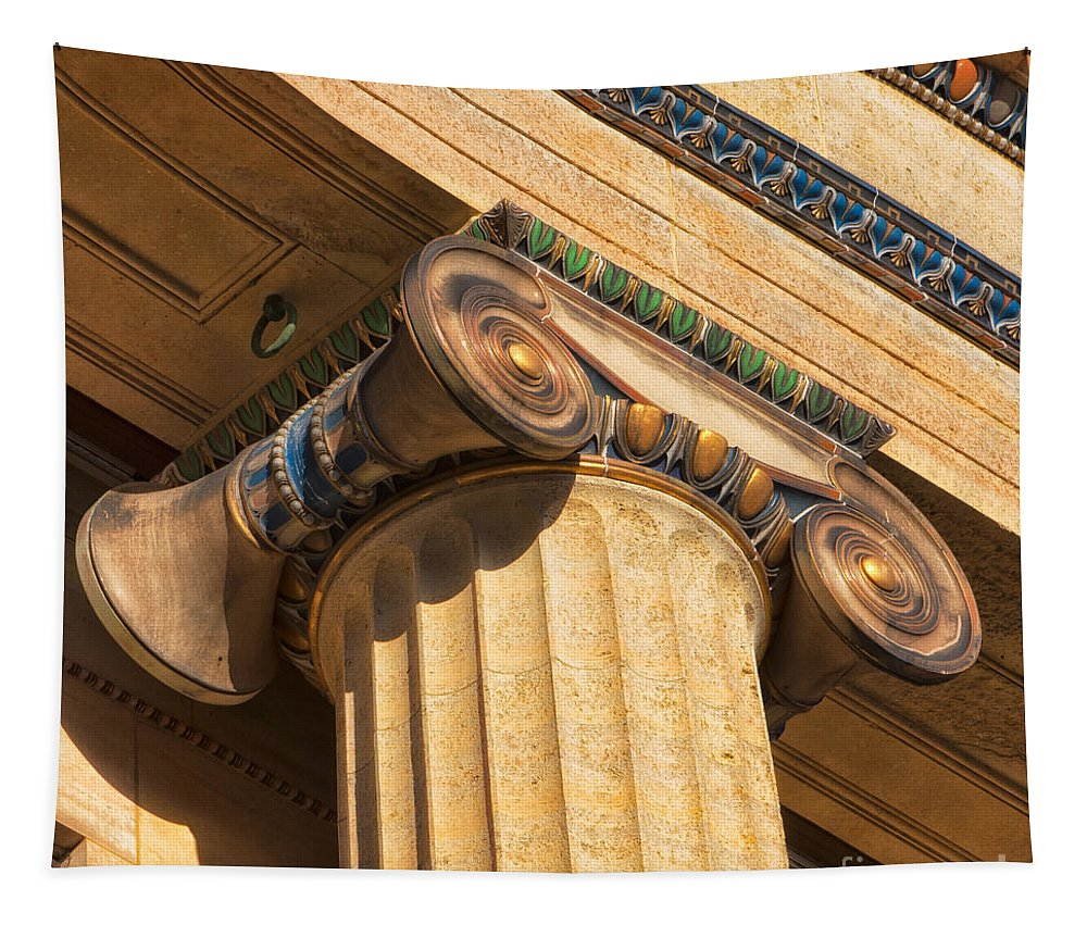 Architecture Tapestry featuring the photograph Ionic Volute Bw by Jerry Fornarotto