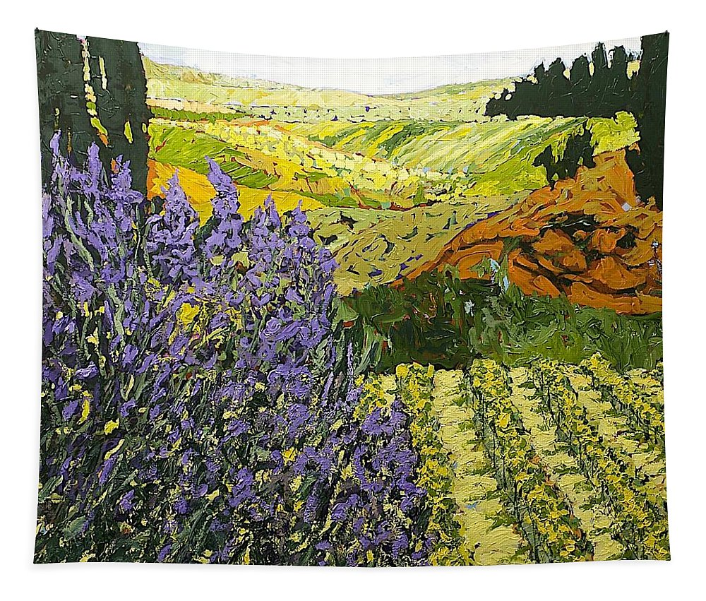 Landscape Tapestry featuring the painting It Is Magic by Allan P Friedlander