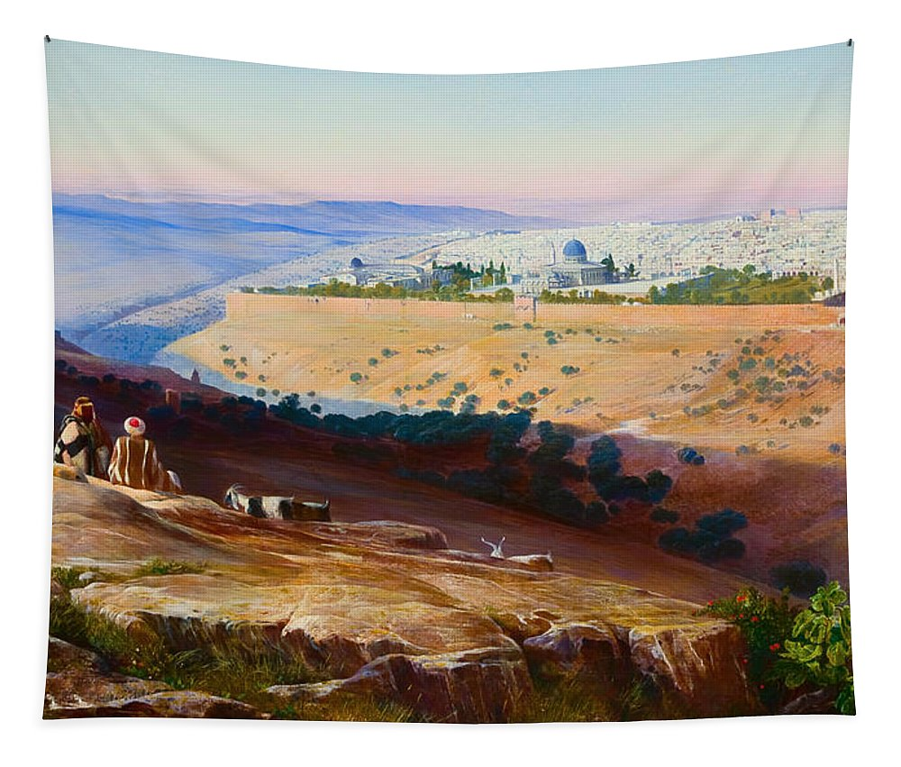 Painting Tapestry featuring the painting Jerusalem From The Mount Of Olives by Mountain Dreams