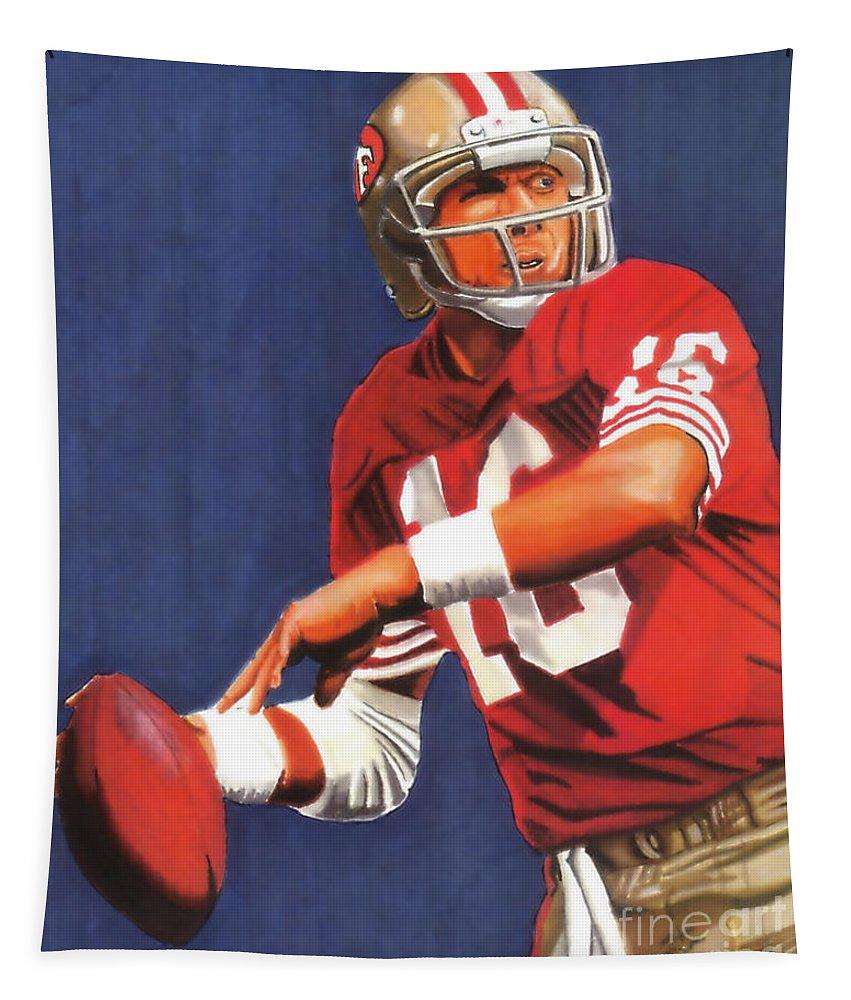 Joe Montana Tapestry featuring the drawing Joe Montana by Cory Still