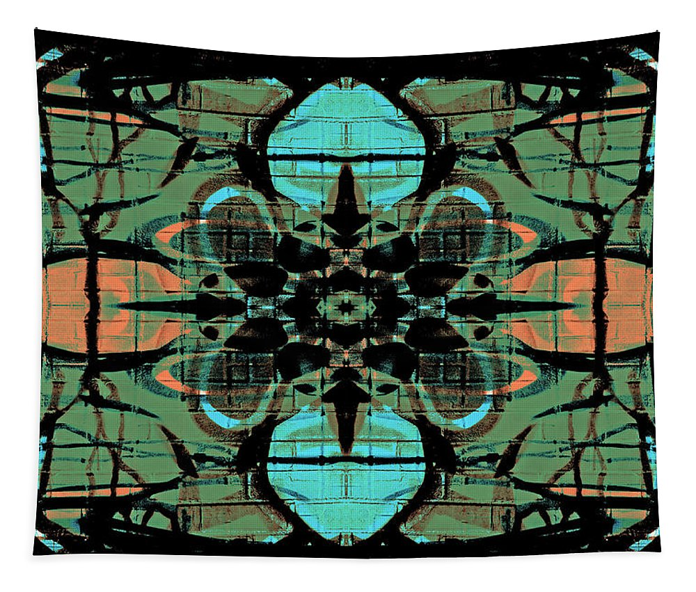 Orange Tapestry featuring the digital art Kaleidoscope Flower 4 by Steve Ball