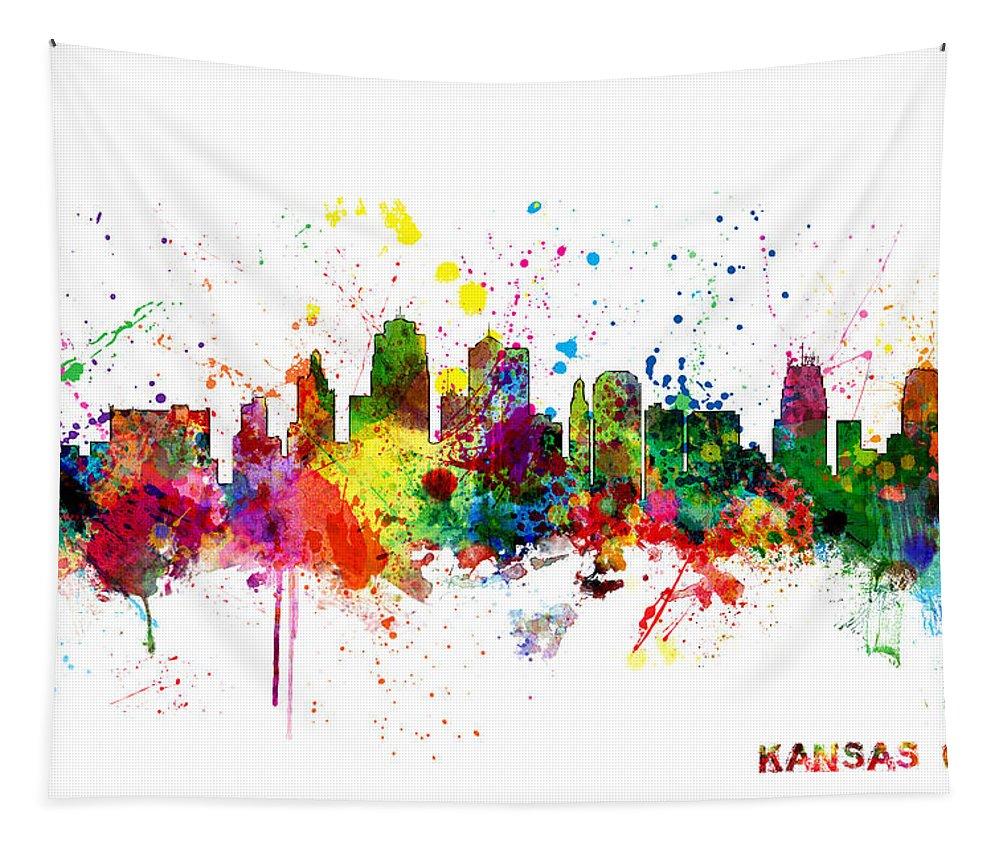 United States Tapestry featuring the digital art Kansas City Skyline by Michael Tompsett