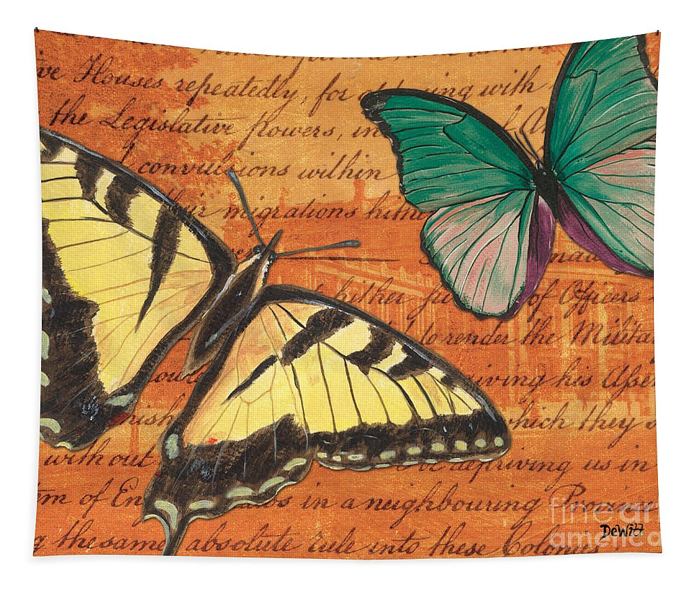 Butterfly Tapestry featuring the mixed media Le Papillon 3 by Debbie DeWitt