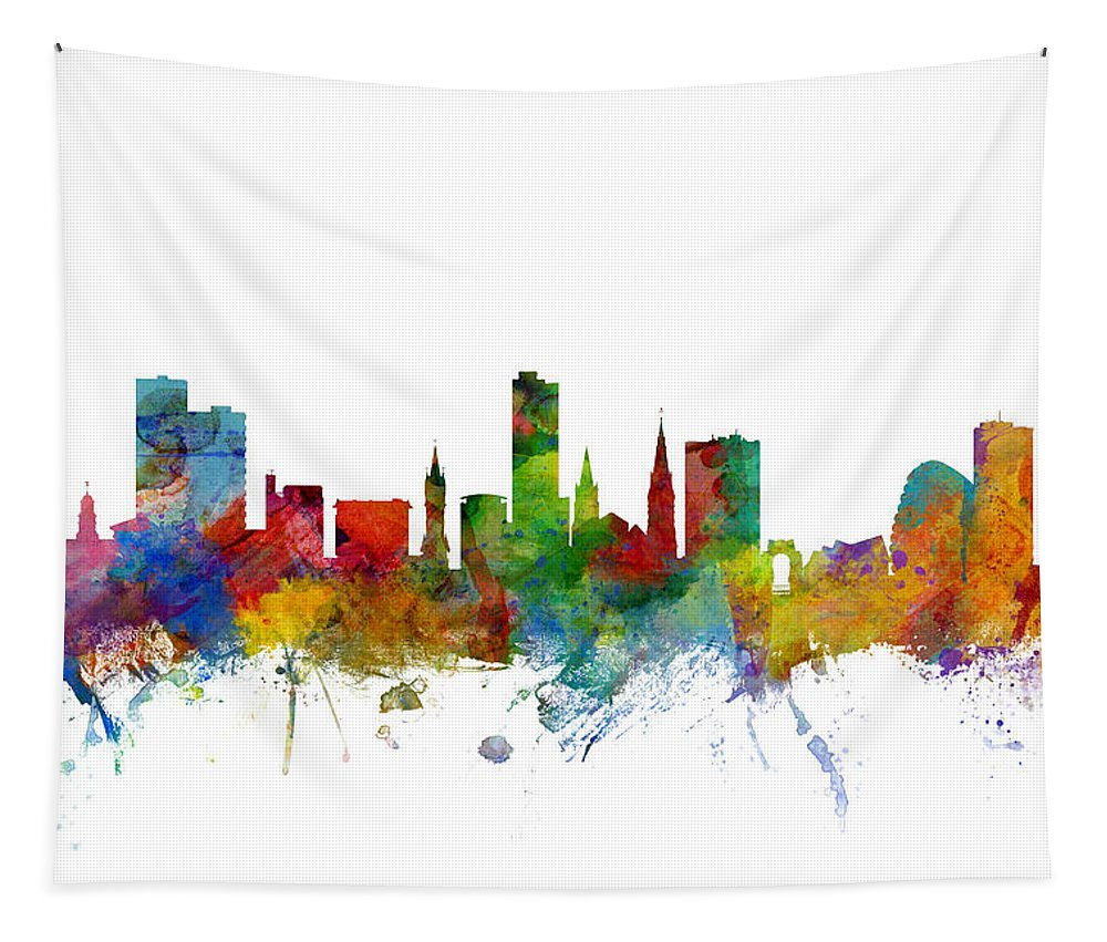 City Tapestry featuring the digital art Leicester England Skyline by Michael Tompsett