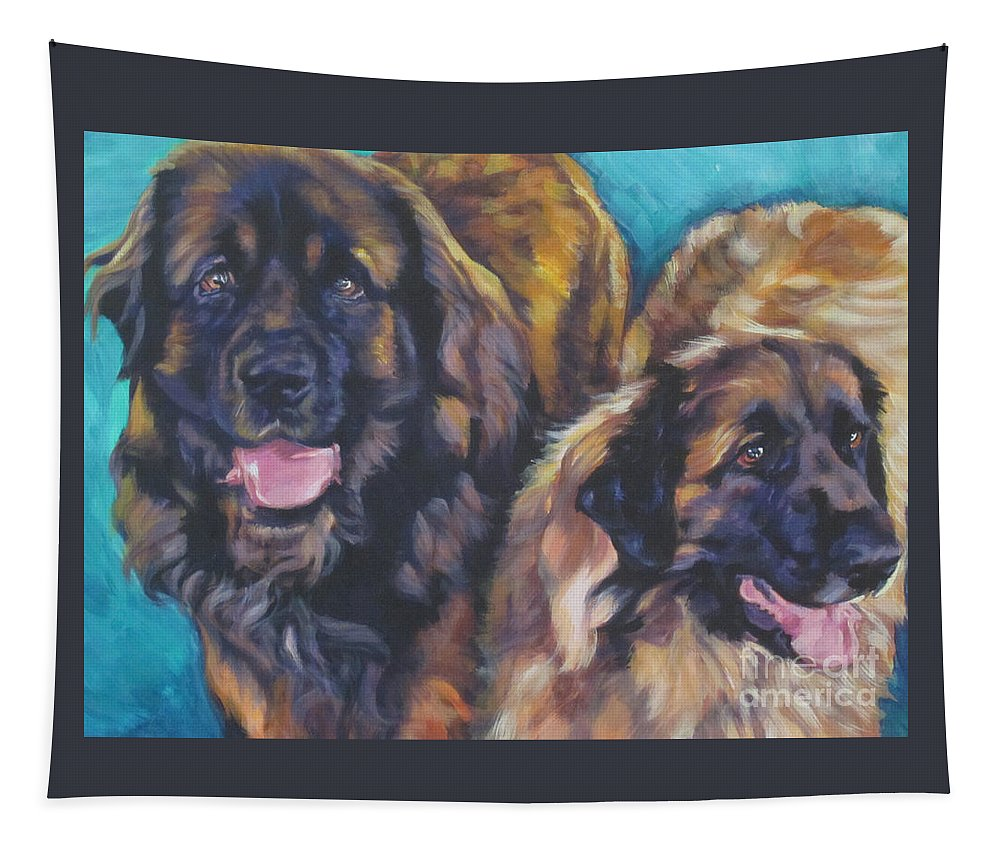 Leonberger Tapestry featuring the painting Leonberger Pair by Lee Ann Shepard