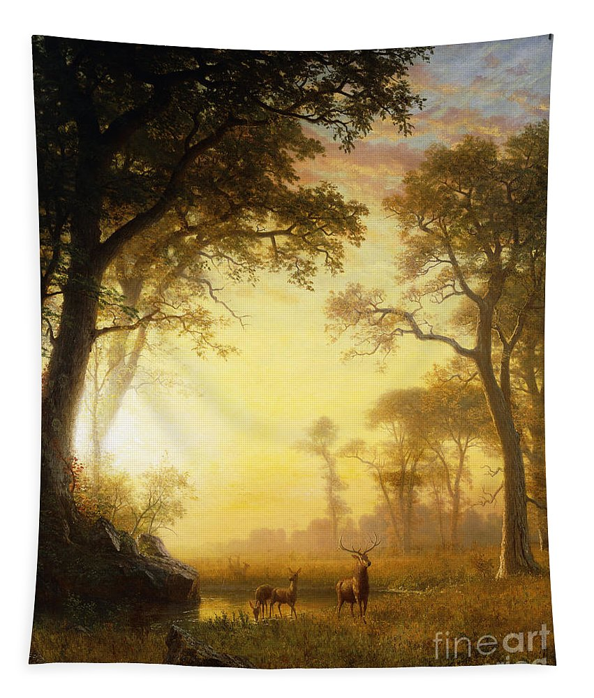 19th Century Tapestry featuring the painting Light in the Forest by Albert Bierstadt