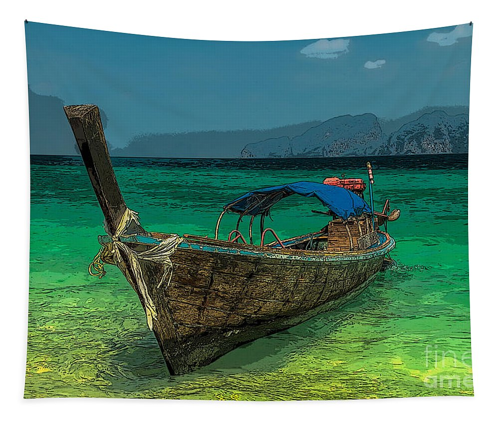 Asia Tapestry featuring the photograph Longboat by Adrian Evans