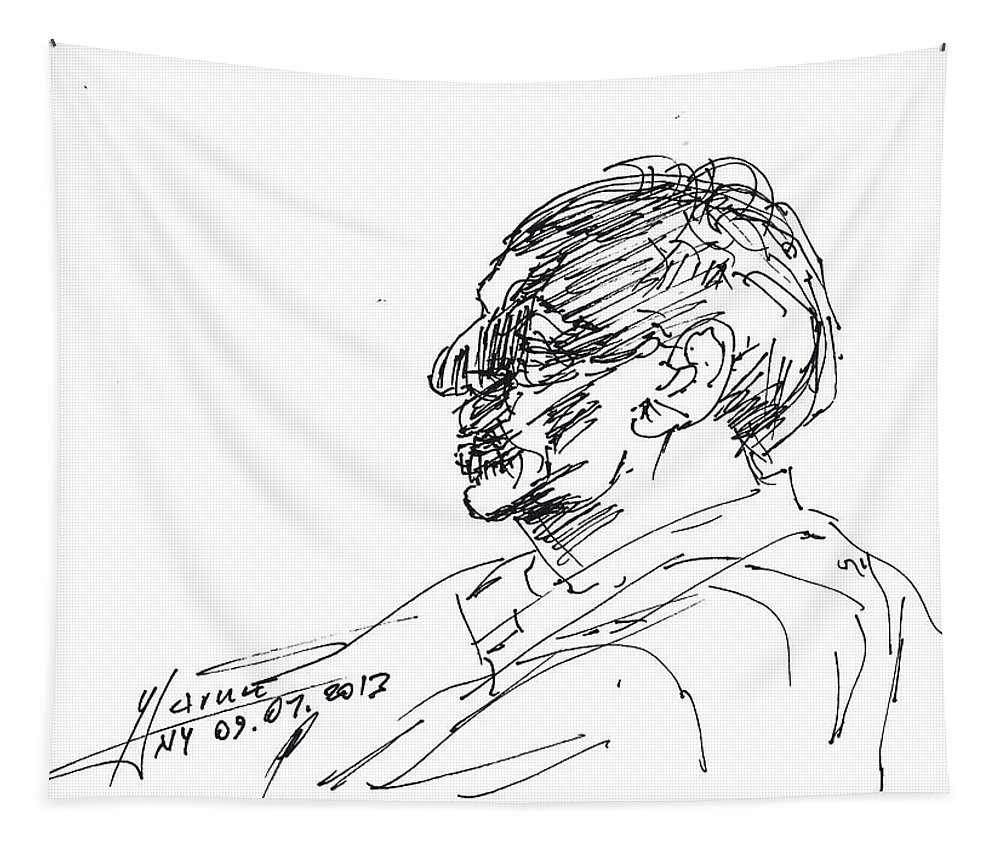 Man Head Tapestry featuring the drawing Man Head by Ylli Haruni