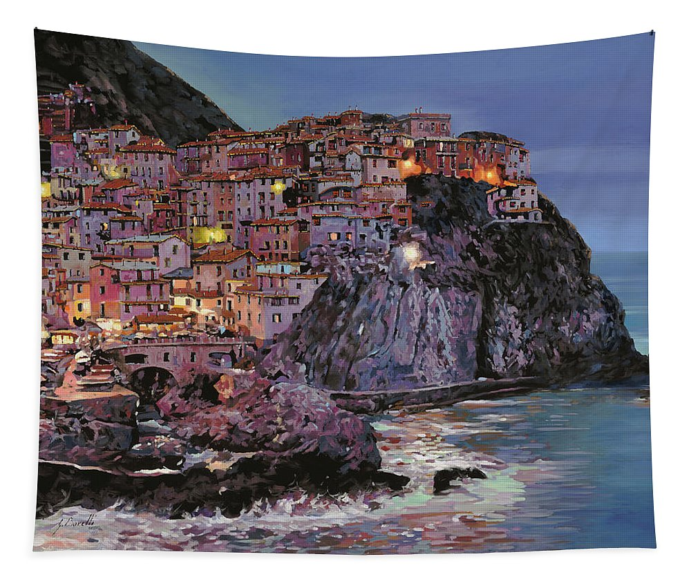 Manarola Tapestry featuring the painting Manarola al crepuscolo by Guido Borelli