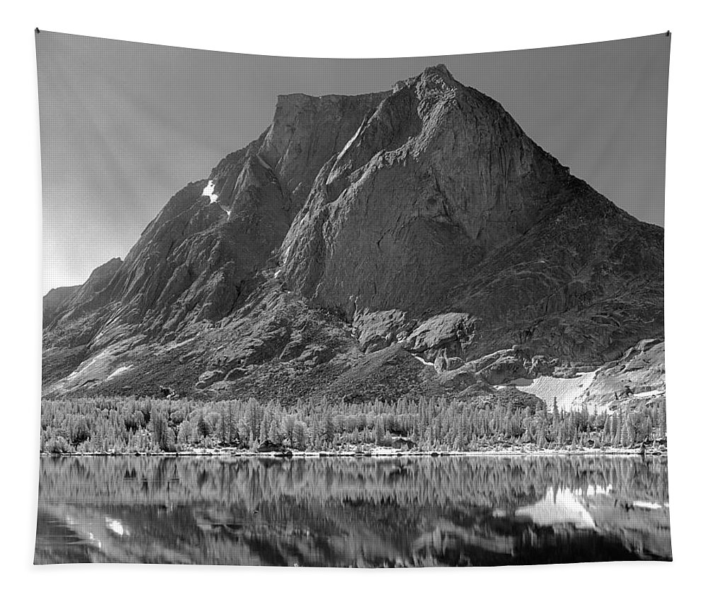 Lonesome Lake Tapestry featuring the photograph 109644-bw-mitchell Peak, Wind Rivers by Ed Cooper Photography