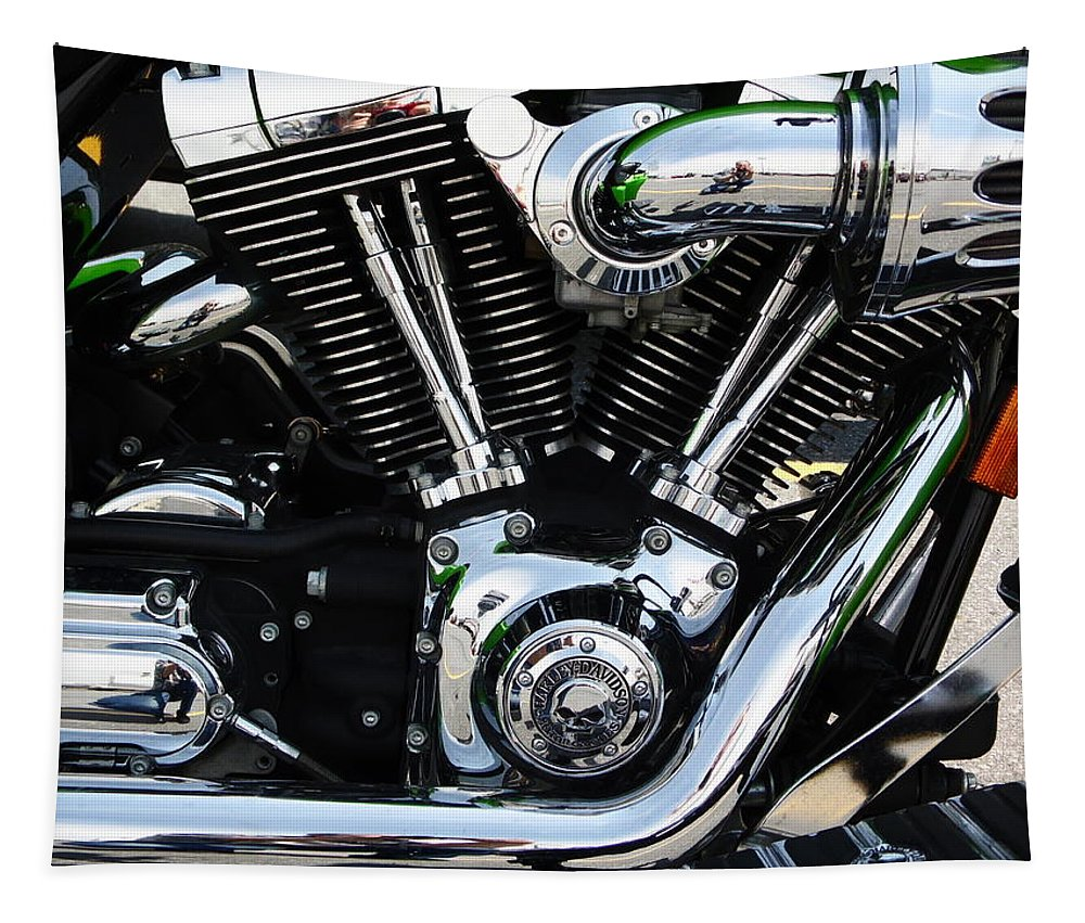 Motorcycle Tapestry featuring the photograph Motorcycle Engine by Karl Rose