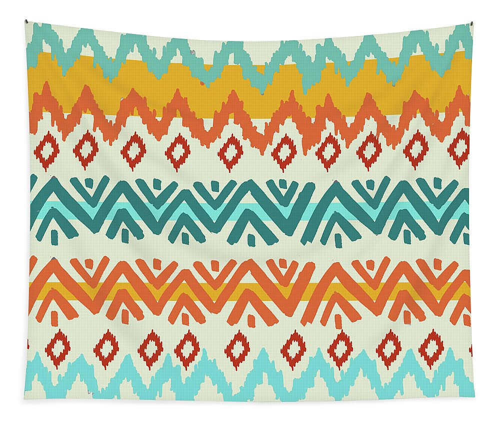 Navajo Tapestry featuring the digital art Navajo Mission Round by Nicholas Biscardi