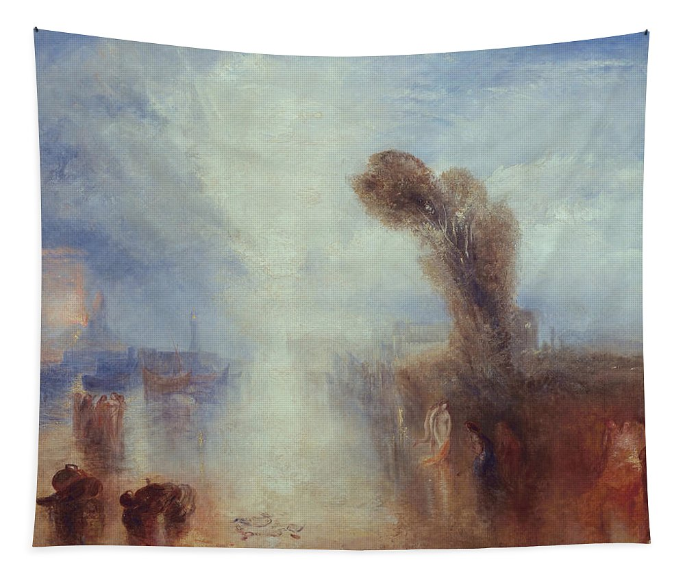 Turner Tapestry featuring the painting Neapolitan Fisher Girls Surprised Bathing By Moonlight by Joseph Mallord William Turner