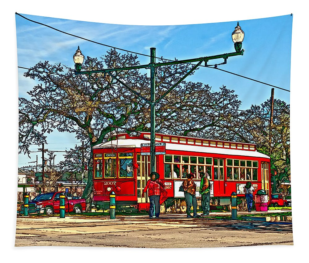 New Orleans Tapestry featuring the photograph New Orleans Streetcar Painted by Steve Harrington