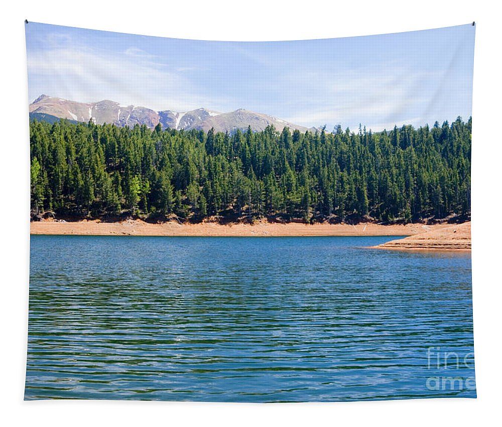 Colorado Rockies Tapestry featuring the photograph North Catamount Lake by Steve Krull