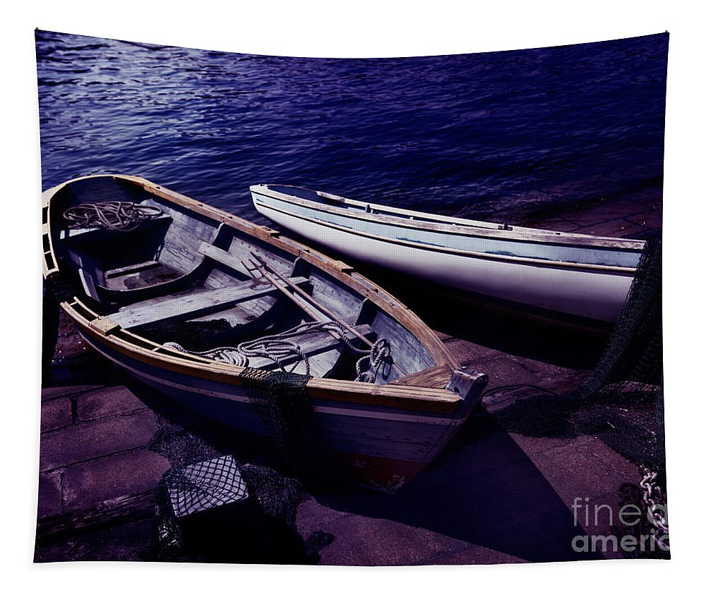Boat Tapestry featuring the photograph Old Wooden Boats At Night by Oleksiy Maksymenko