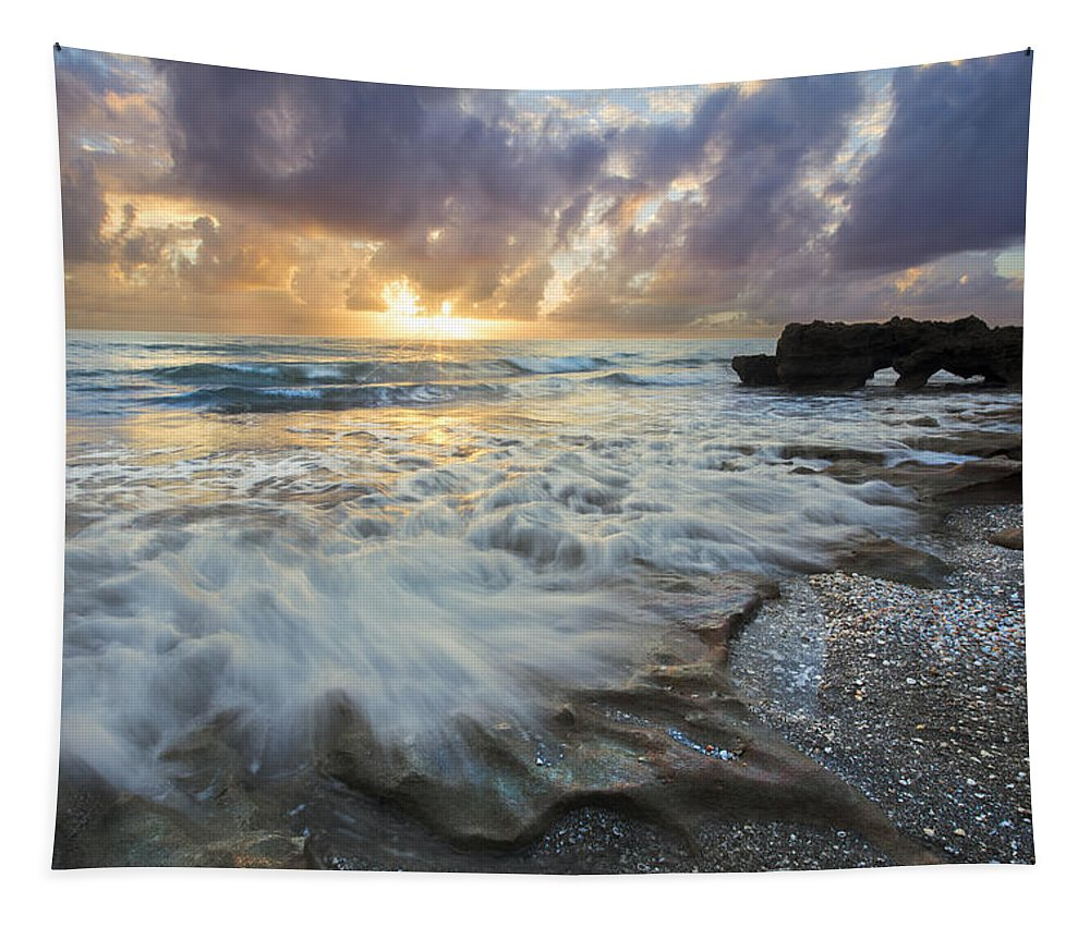 Clouds Tapestry featuring the photograph On The Rocks by Debra and Dave Vanderlaan