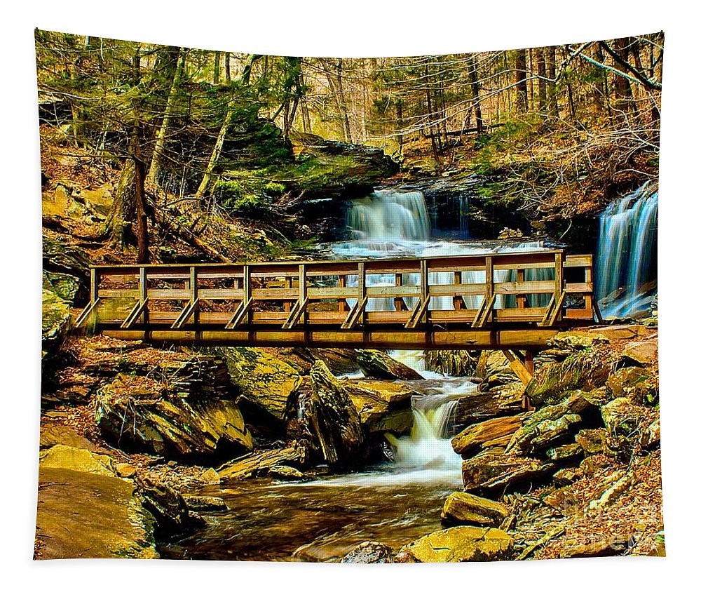 Bridge Tapestry featuring the photograph Over The River by Nick Zelinsky