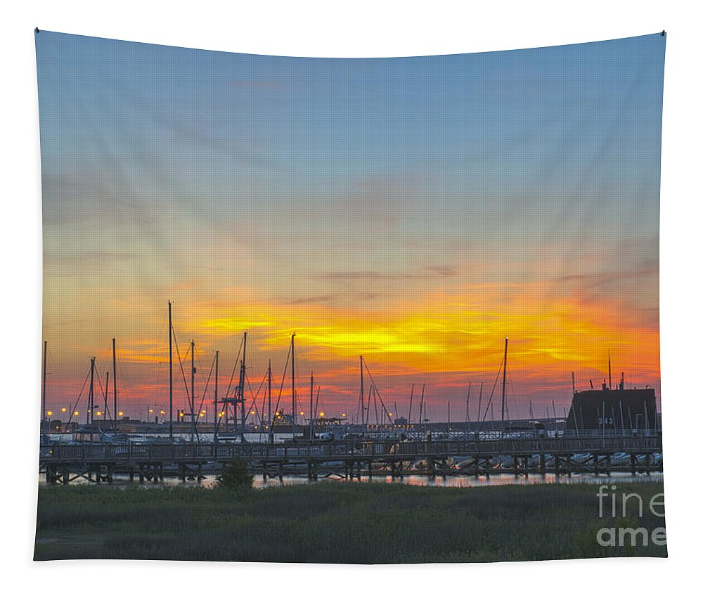 Sunset Tapestry featuring the photograph Patriots Point Sunset by Dale Powell