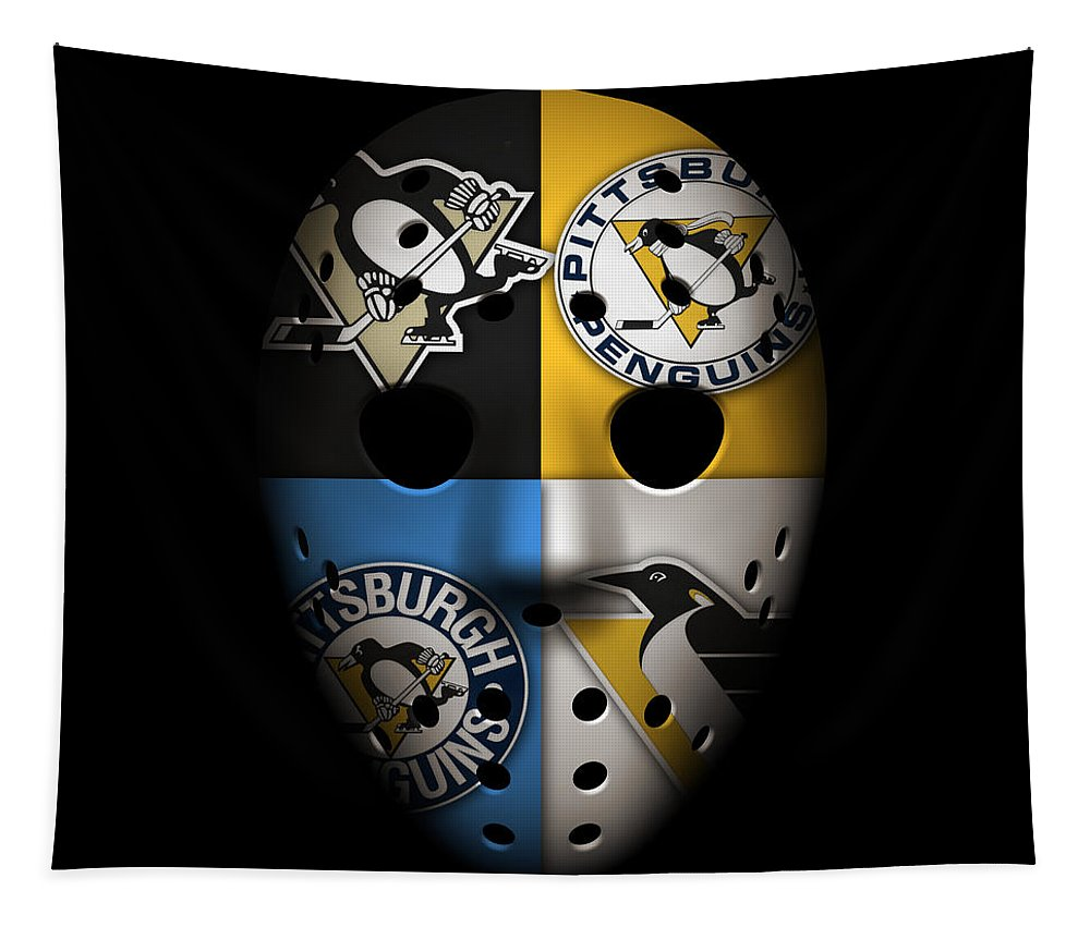 Penguins Tapestry featuring the photograph Penguins Goalie Mask by Joe Hamilton
