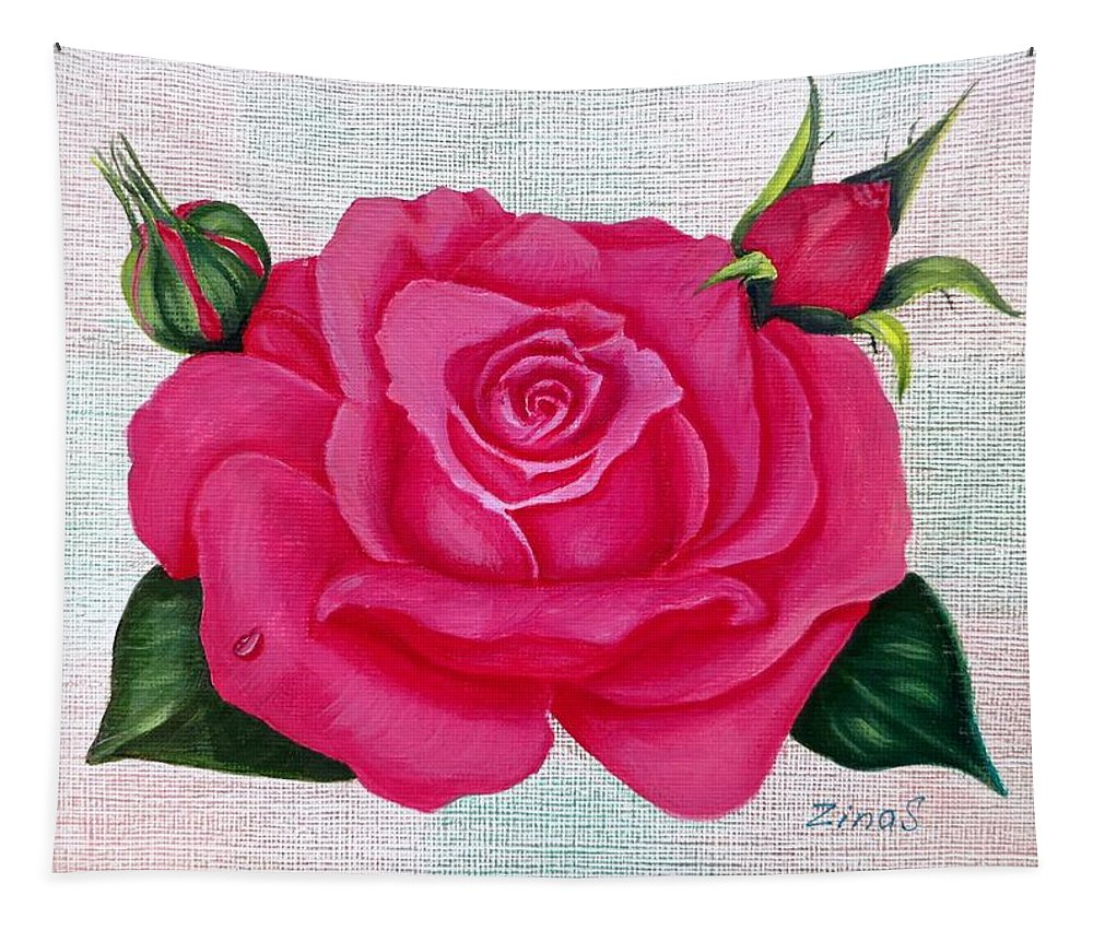 Rose Art Tapestry featuring the painting Pink Rose by Zina Stromberg