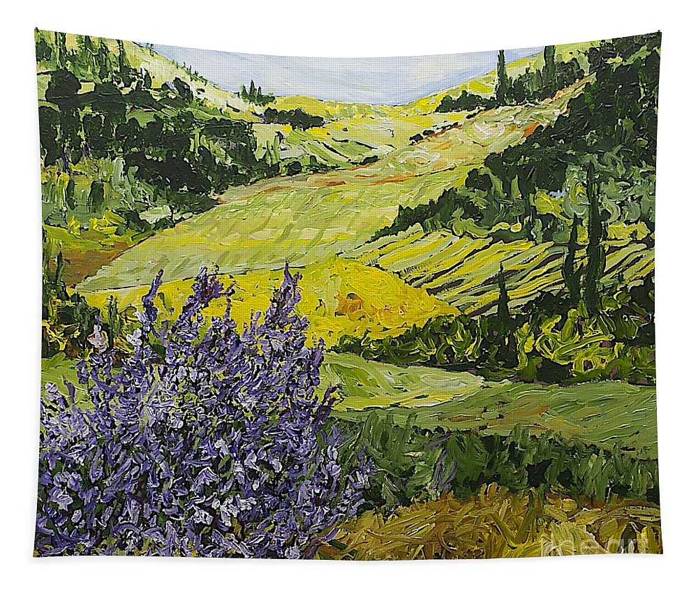 Landscape Tapestry featuring the painting Pleasant Heart by Allan P Friedlander