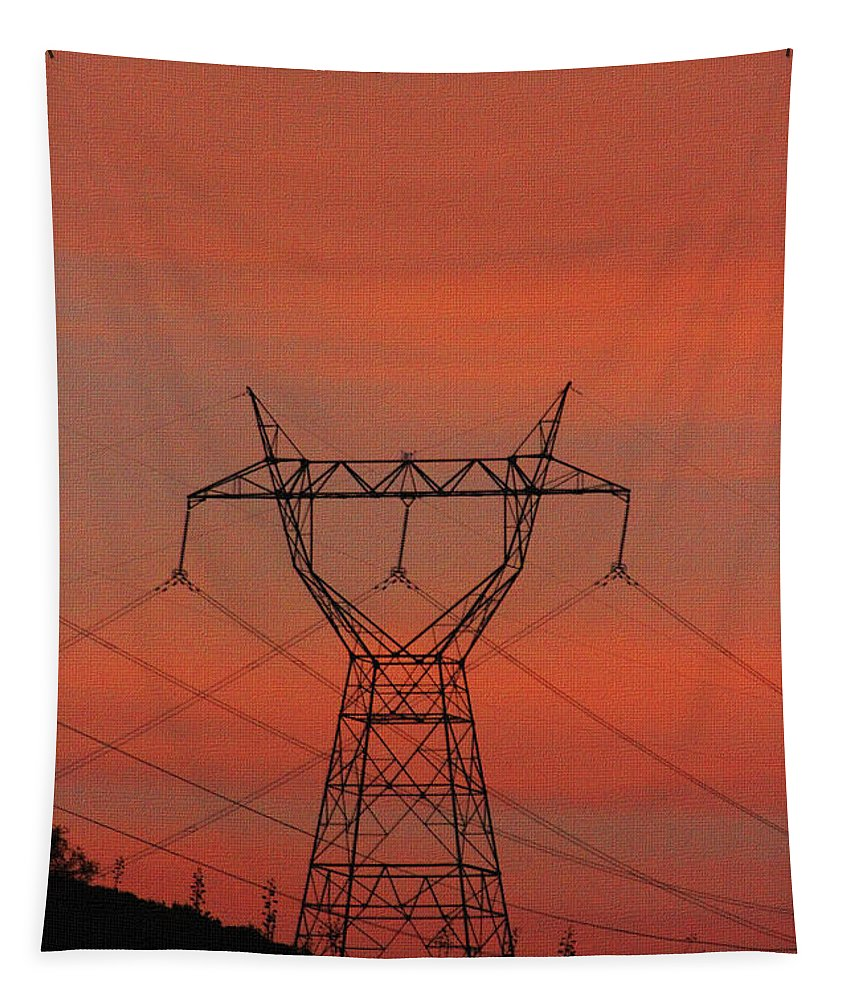 Power Lines Tapestry featuring the photograph Power Lines Just After Sunset by Tom Janca