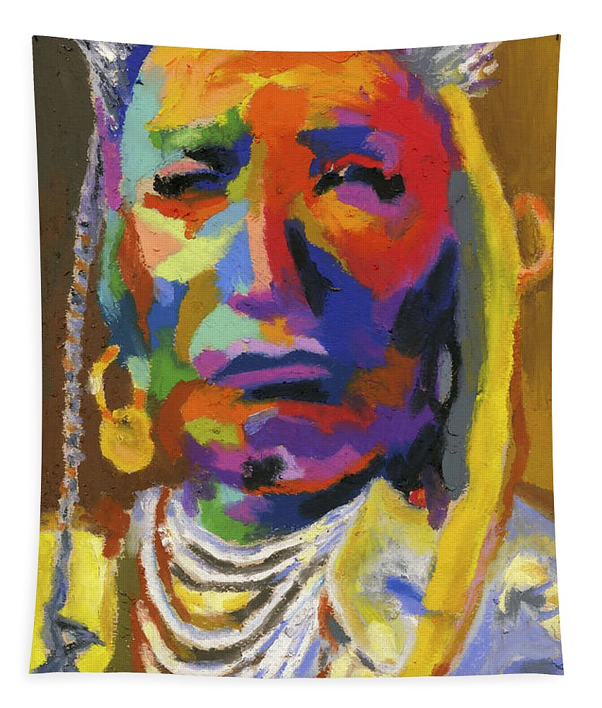 Indian Tapestry featuring the painting Proud Native American II by Stephen Anderson