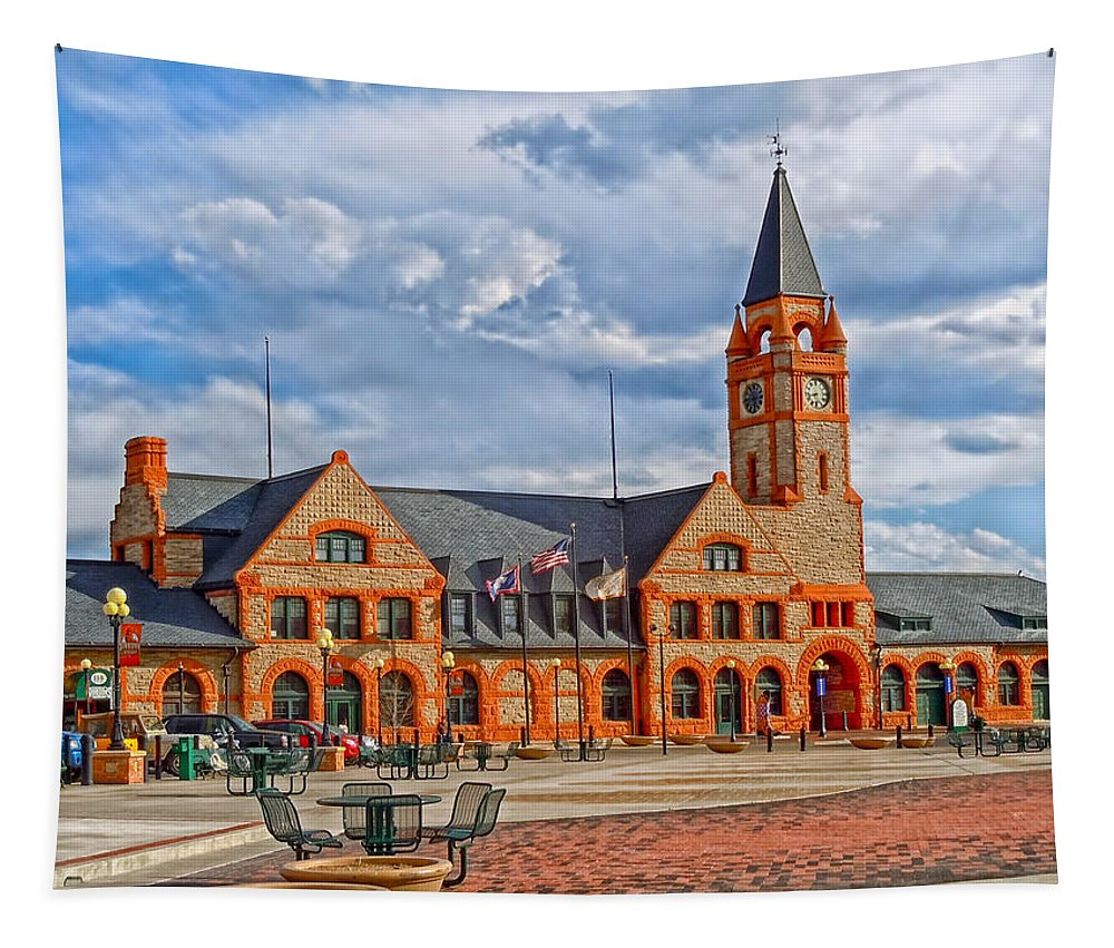 Cheyenne Tapestry featuring the photograph Railroad Depot - Cheyenne Wyoming by Mountain Dreams