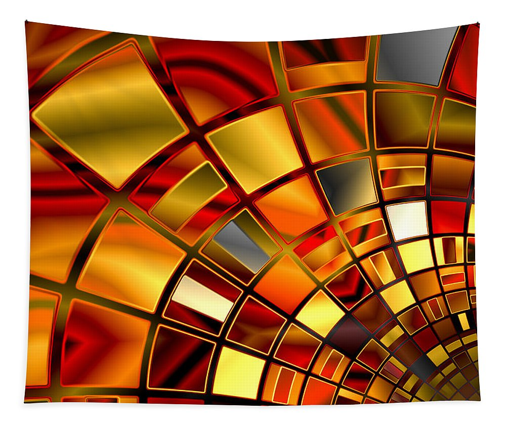 Red Tapestry featuring the digital art Red And Gold by Hakon Soreide