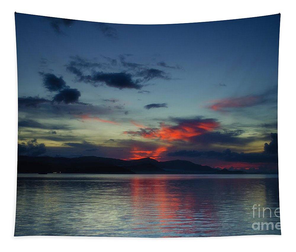 Michelle Meenawong Tapestry featuring the photograph Red Clouds by Michelle Meenawong